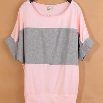 *Free Shipping* Pink Ladies Cotton Stripe Loose Top S/M/L/XL/XXL YS1036p from efoxcity