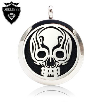 New Skeleton Design 316L Stainless Steel Aromatherapy Perfume Locket Pendant Essential Oil Diffuser Locket (Send Chain felt pad)