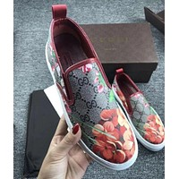 GUCCI Trending Women Men Casual Flower Letter Print Flat Shoe I