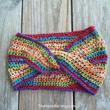 Boho Crochet Twist Ear Warmer Headband in Multicolor Blend, Handmade Crocheted Ear Warmer, Multicolor Ear Warmer, Rainbow Pride Headband