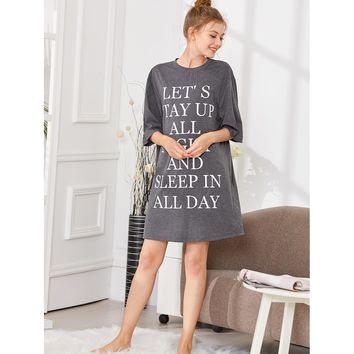 Letter Print Sleep Dress