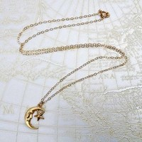 18ct Gold Vermeil Moon And Star Necklace