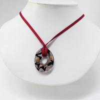 Autumn Toned Necklace with Sparkling Glass Doughnut & Burgundy Silky Cord