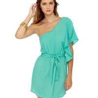 Cute Turquoise Dress - One Shoulder Dress - Ruffle Dress - $32.00
