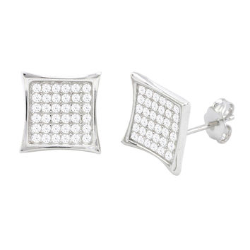 Sterling Silver Micropave Stud Earrings Lightweight Kite Shaped Clear CZ 12mm