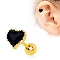 Black Heart Cartilage Earring