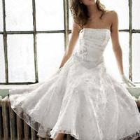 Short Printed Organza Gown with Floral Sash - David's Bridal