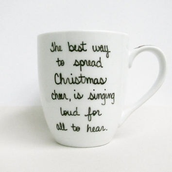 "Buddy the Elf Mug - Christmas Mug - ""The best way to spread Christmas cheer is singing loud for all to hear"" with Red and White Stripes"