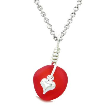 Twisted Twincies Heart Small Frosted Sea Glass Lucky Charms Handcrafted Royal Red 18 Inch Necklace