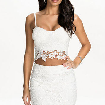White Floral Lace Sleeveless Crop Top and High-Waisted Bodycon Skirt