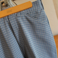 Vintage Haband of Paterson Polyester Knit Pants, Gray Blue White Plaid 31 x 31