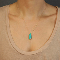 Stone Turquoise Necklace on Sterling Silver or Gold fill Chain // Simple Gold Turquoise Necklace // Simple Gold Chain