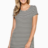 ShopSosie Style : Madison Striped Dress in Black & White