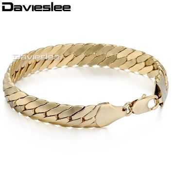 Hot sale 11mm Gold Filled Bracelet CLOSE CURB Herringbone Chain Bracelet Mens boys jewelry gift 8.54inch LGB35