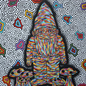 PRINTS - Original Hand Painted Gnome Art Trippy Gnome Trippy Art Trippy Painting Gnome Painting Colorful Mushroom Painting Mushroom Art