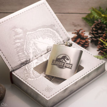 Hollow Book Safe & Hip Flask- Jurassic Park: The Lost World (LEATHER BOUND)