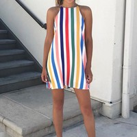 Rainbow Stripe Swing Dress