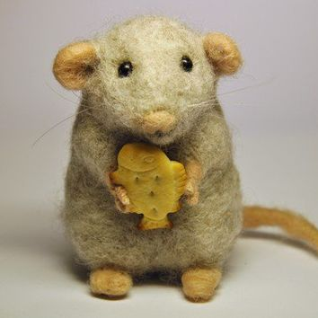 Handmade Needle Felted Wool Mouse by BinneBear on Etsy