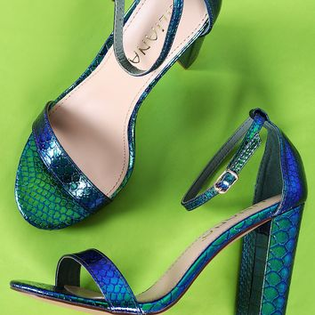 Liliana Holographic Snakeskin Open Toe Ankle Strap Chunky Heel