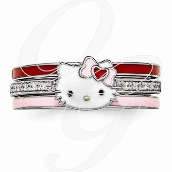 Hello Kitty Sterling Silver Enamel Swarovski 3 Ring Set