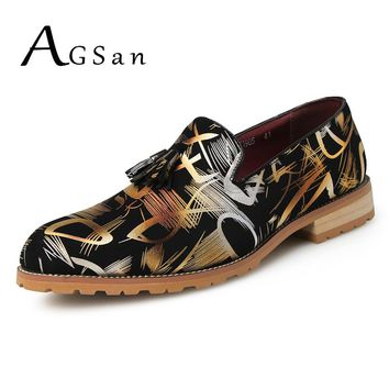 AGSan tassel dress shoes men camouflage gold slip on shoes hombre zapatos silver handmade wedding footwear male formal shoes