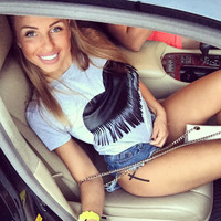 Causal Heart-Shaped Tassel T-Shirt
