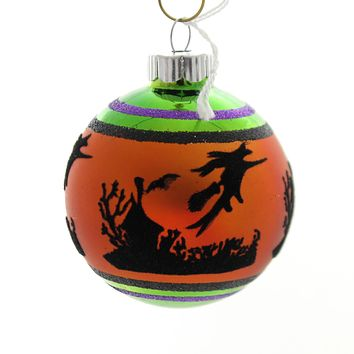 Shiny Brite HALLOWEEN SIGNATURE FLOCKED. Glass Ball Ornament 4026973S B