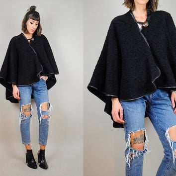 Black BOUCLE vtg 80's knit sweater CAPE cloak draped coat MINIMALIST jacket jumper open fit