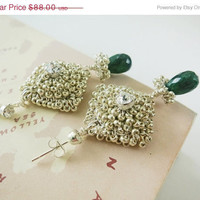 Summer Sale Wedding Emerald Earrings with Rhinestone Dangle Crystal Post Bridal Jewelry