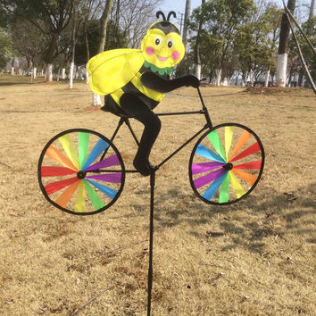 Animal Cycling Shape Creative Multicolor Wind Spinner Whirligig Garden Windmill Cloth for Garden Decor A