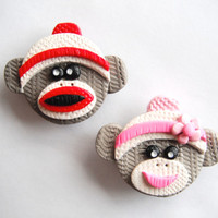 Magnet Sock Monkeys handmade polymer clay magnets ( 2 )
