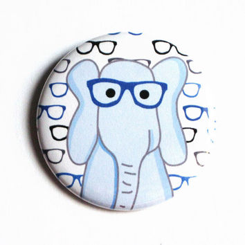 Animal Nerd Glasses Elephant Pinback Buttons Blue Proud Geek Pattern