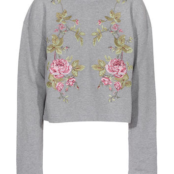 McQ by Alexander McQueen Crop Rose Light Grey sweater with embroidery - What's new