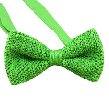Lime Green Knit Bow Tie