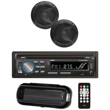 """Pyle Marine Single-din In-dash Cd Am And Fm Receiver With Two 6.5"""" Speakers Splashproof Radio Cover & Bluetooth (black)"""