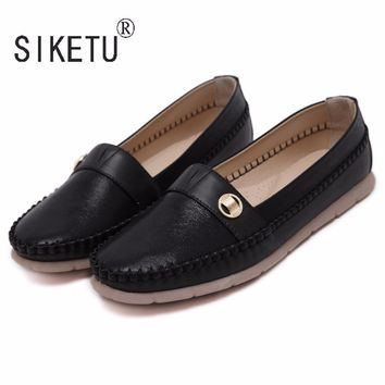 SIKETU Brand 2017 Newest Fashion PU Round Toe Women Loafers Casual Ballet Flats Shoes