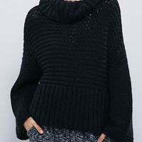 Black Roll Neck Cable Knit Loose Sweater