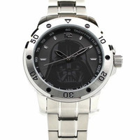 Darth Vader Stainless Steel Mens Star Wars Watch with Silver Two-toned Bracelet (DAR2009)