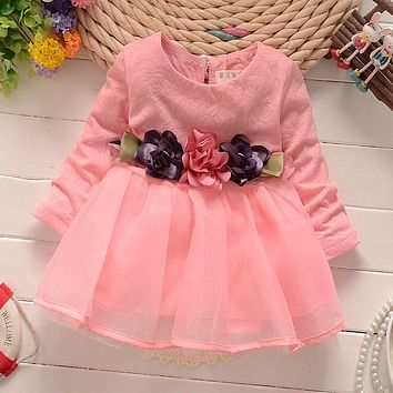 2017 winter newborn fancy infant baby dresses girl frocks designs party wedding long sleeves