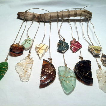 Sea Glass Suncatcher Ecofriendly Upcycled Recycled Beach Pottery Shards Driftwood Art Tumbled Beach Glass Wedding Mobile Lake Erie