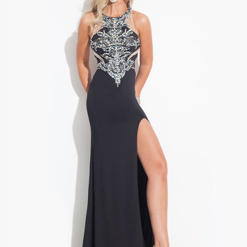 Sheer Back With High Slit Formal Prom Dress By Rachel Allan 6899