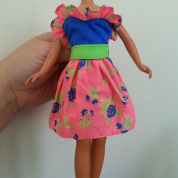 Vintage Barbie Doll Dress, 1980s Barbie Outfit, Neon Pink and Green with Flowers and Blue, Strap Party Dress, Miniature Doll Clothes