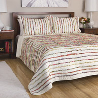 Soft Cotton Bedding Quilt Set with Floral Ruffles in Stripe Pattern - Full / Queen/ King