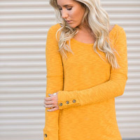 Button Cuff Long Sleeve Thermal Shirt in Mustard