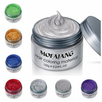 Color Hair Wax Styling Pomade Silver Grandma Grey Temporary Hair Dye Disposable Fashion Molding Coloring Mud Cream G0213