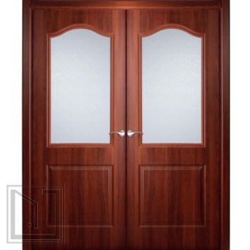 Interior Double Door Italian Nutwood with Frosted Glass