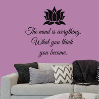 Wall Decals Buddha Quote The Mind Is Everything What You Think You Become Lotus Home Vinyl Decal Sticker Kids Nursery Baby Room Decor kk412