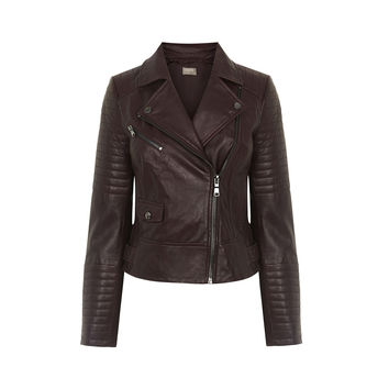 LEATHER BIKER JACKET - BURGUNDY