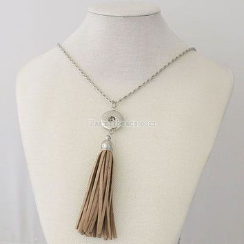 Partnerbeads Trendy Ethnic Style Hollow Pattern Pendant Choker Tassels Snap Necklace Fit DIY18MM Snap Buttons Jewlery KB0254