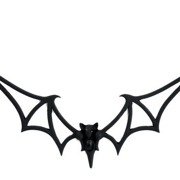 Black Tribal Gothic Vampire Bat Necklace Deathrock Rockabilly Dracula Halloween